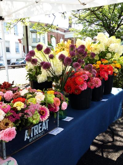 <ファーマースマーケットのベンダーの一つのお花屋さん 毎週見るだけでうきうきした>
